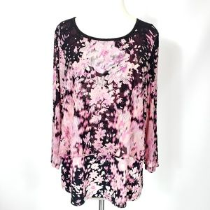 ECI Pink Floral Top Flattering Overlays Size L!